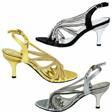 Womens ladies diamante mid heel prom shoes wedding bridal evening sandals