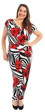 New Womens Cowl Neck Short Sleeve Alibaba Pants Floral Jumpsuits 14-28