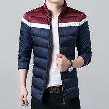 Mens Fashion Cotton Stand Collar Coat Color Splice Thick Padded Jacket Parka Zip
