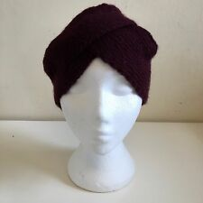 Asos Ladies Burgundy Red Maroon Fine Rib Knitted Turban Beanie Hat One Size