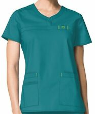 Wink Medical Scrub Wonder Flex Teal Curved Notch-Neck Top Sz XS-XXL NWT
