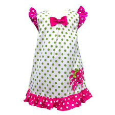 Girls Dress Green White Pink Polka-Dot Crab Applique A-Line Babeeni 12m-6T NWT