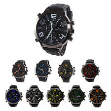 V6 Men Cool Super Large Dial Quartz Steel Silicone Band Wrist Watch  ED