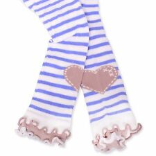 Naartjie Girls Stripes with Heart Legging with Ruffle Bottom, Ivory NWT