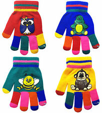 Children's Magic Gloves Cartoon Animals Kids Boys Girls Winter Warm One Size