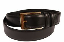 KITON Napoli Hand-Made Black Leather Brass Buckle Dress Belt NEW With Box