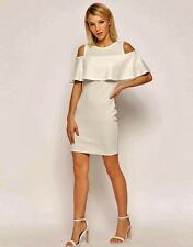 Ladies Party Cocktail Evening Cold Shoulder Stretch Jersey Creme Dress Size 6-16