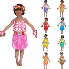 Hawaiian Grass Skirt Flower Hula Lei Garland Fancy Dress Costume 5 Piece Set