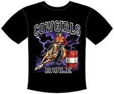 COWGIRLS RULE BARREL RACING T-SHIRT RODEO HORSE (193)