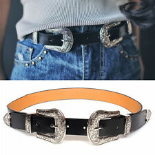 Women Black Leather Skinny Western Belt Waistband Floral Buckle Adjustable Size