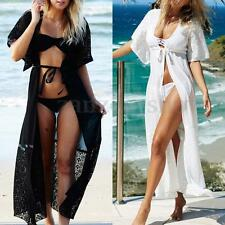 Women's Lace Crochet Chiffon Cardigan Jacket Beach Dress Bikini Cover Up Kaftan