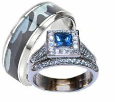 His and Hers Wedding Rings Blue and Clear Ring Set Men's Blue Camouflage Ring