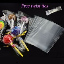2 Size Clear Cellophane Bags Cello Sweets Cookies Lollipops Cake Pops