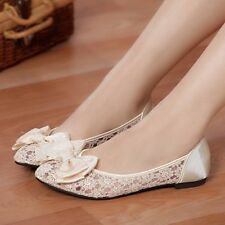 New Women's Flats Ballet Bridal Bridesmaid Wedding Lace Slip On Hollow Out Shoes