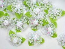White Lace Satin Ribbon Bow White Rose Flower leaves Appliques Craft Wedding New