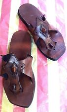 Mens Womens T-Strap Leather Sandals Thong Flip-Flops Unisex Brown Shoes Multi-US