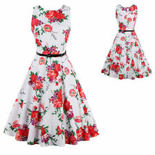 Womens Vintage Floral Big Circle 50s 60s Cocktail Flared Swing Rockabilly Dress