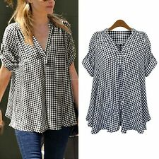 Deep V Plaid & Checks Cotton Casual Short Sleeve Shirt Women Shirt Tops Blouse