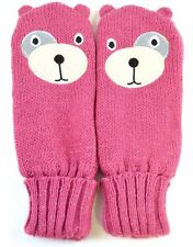OCTAVE® Girls Knitted Teddy Bear Face Mittens With Lurex For Sparkle! - Pink