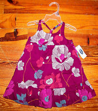 New! Girls OLD NAVY Purple White Pink Aqua Cotton Flower Dress Casual Sundress