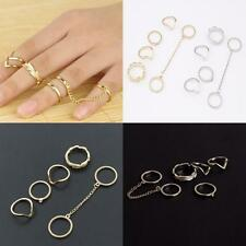6PCS/Set Gold/Silver Plated Urban Crystal Above Knuckle Stacking Band Midi Rings