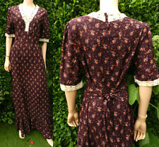 1970,s Vintage Dress New Dead Stock Folk Dress Burgundy 14-16 floral Cotton