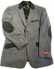 Inserch Mose Heathered Herringbone Blazer w/ Contrast Trim 504A1