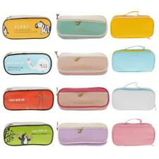 Trendy Student PU Pencil Case Pen Makeup Travel Zipper Purse Travel Cosmetic Bag