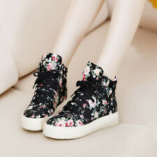 New Women High Top Sneakers Floral Ankle Boots Platform Canvas Walking Shoes