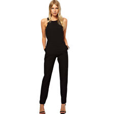 Summer Elegant Women Rompers Jumpsuit Racing-Style Sexy Black Playsuits M-XXL