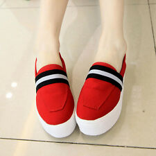 New Women Canvas Flats Slip On Loafers Casual Platform Skate Shoes Espadrilles