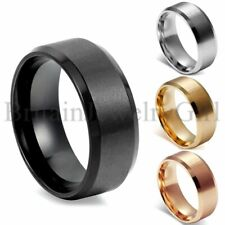 8MM Stainless Steel Men Women Wedding Engagement Anniversary Ring Band Size 5-15