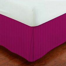 "Sale 800-TC Hot Pink Stripe 1-PC Bed Skirt 100% Cotton 8""-24"" Drop All USA Size"