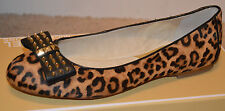 NEW MICHAEL KORS Flats Womens Shoes Devin Ballet Haircalf Leather Cheetah $160