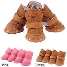 4pcs Winter Warm Small Fur Dog Boots Puppy Shoes Pet Protective Snow Booties Hot