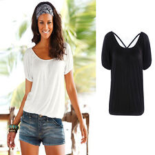 Fashion Summer Womens Loose Casual Short Sleeve T Shirt Blouse Basic Tee Tops