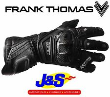 FRANK THOMAS SEG212 KINETIK SPORT DOUBLE CUFF LEATHER MOTORCYCLE GLOVE MOTORBIKE