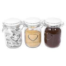 3 x Glass Heart Ceramic Lids Tea Coffee Sugar Storage Canisters Jars Containers