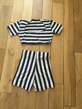black and white stripe shorts and top size M 6/8