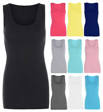 NEW LADIES  PLAIN SUMMER STRETCHY RIBBED CASUAL TOP T SHIRT MUSCLE VEST