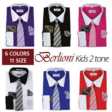 BERLIONI ITALY BOYS TWO TONE DRESS SHIRTS KIDS LONG SLEEVE TIE & HANKY