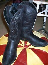 Black Boots Women FLAME WHITE STITCHING Western Faux Leather SIZE10 M Mid Calf