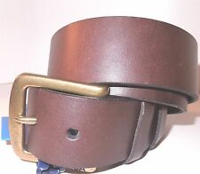 Nautica Mens Brown Genuine Leather Antique Brass Logo Buckle Belt 30 32 Small
