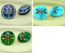 1pc Small Dragonfly Insect Handmade Czech Glass Buttons Size 8, 18mm