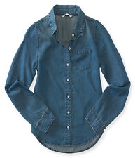 aeropostale kids ps girls' long sleeve medium wash chambray woven shirt chambray
