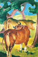 Cows Under Trees-Marc - - CANVAS OR PRINT WALL ART