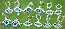 REAL 925 sterling silver Blue Evil EyeTurkish Protection EARRINGS Girl women