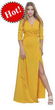 YELLOW MAXI FULL LENGTH WRAP DRESS LONG SLEEVE CROSSOVER DRESSES CASUAL ALL SIZE