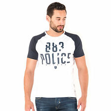 883 Police Mens Malko White/Navy Graphic T-Shirt Short Sleeve Crew Neck Tee Top