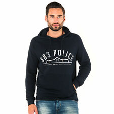 883 Police Mens Bara Navy Hooded Sweatshirt Jumper Sweat Cotton Logo Detail
